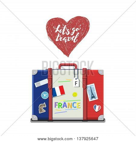 Concept of travel to France or studying French. French flag on suitcase. Flat design, vector illustration