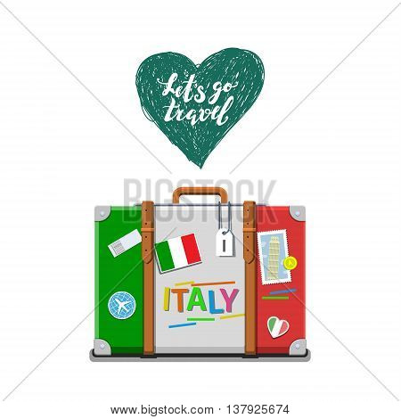 Concept of travel to Italy or studying Italian. Italian flag on suitcase. Flat design, vector illustration