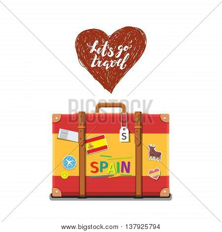 Concept of travel to Spain or studying Spanish. Spanish flag on suitcase. Flat design, vector illustration