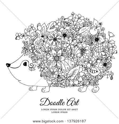 Vector illustration zentangl hedgehog with flowers. Doodle animal, forest, nature, puddle. Coloring book anti stress for adults. Black white.