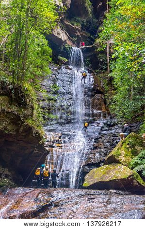 Canyoning In Waterfall At Blue Mountians