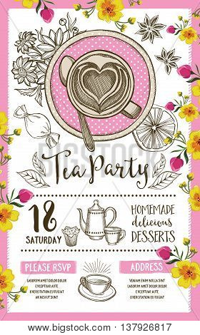 Tea party invitation template design. Vintage creative dinner invitation with hand-drawn graphic. Vector food menu flyer.
