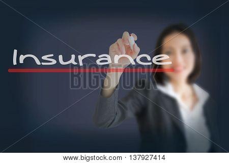 business woman writing insurance concept, insurance sentence