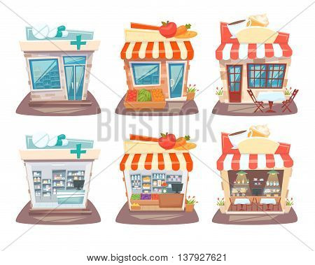 Store front and interior set. Street local retail shops building. Grocery store, pharmacy and cafe facade, inside shelves and showcase. Store front and interior cartoon vector illustration.