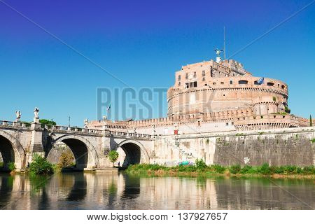 castle saint Angelo and bridge close up, Rome, Italy
