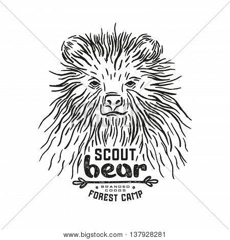 Stock vector linocut with a picture of bear. Graphic design for t-shirt. Black print on white background