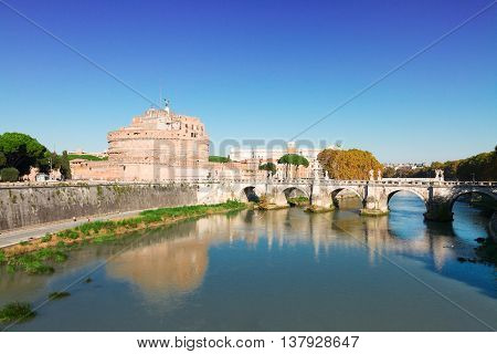 famous castle saint Angelo and bridge, Rome, Italy