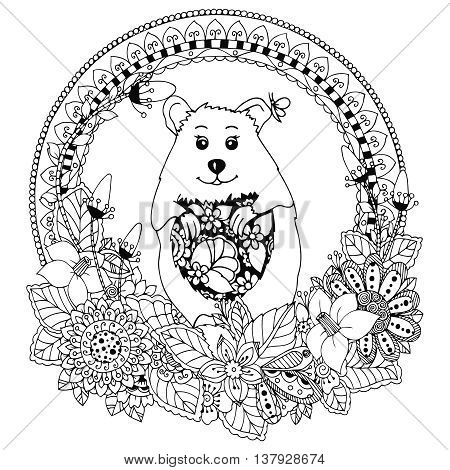 Vector illustration Zen Tangle , hamster and peas. Doodle round frame, flowers pattern. Coloring book anti stress for adults. Black and white.