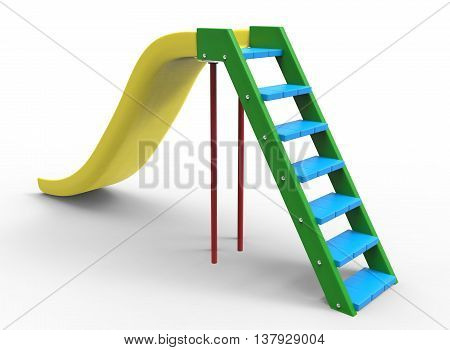3d illustration of children playground slide. icon for game web. white background isolated. colored and cute.
