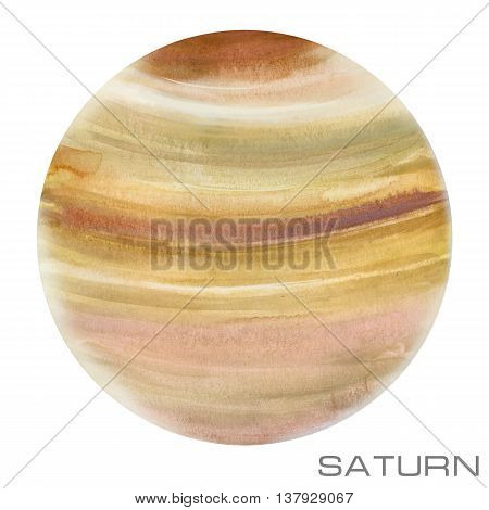 Saturn. Saturn watercolor background. Saturn watercolor illustration.