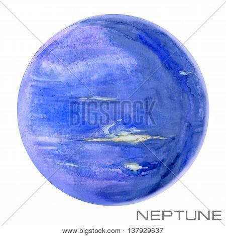 Neptune. Neptune watercolor background. Planet Neptune illustration.