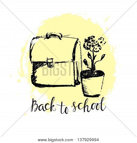 Bag and flower in chalk style on a background of paint stains. Sketch on school theme and the inscription