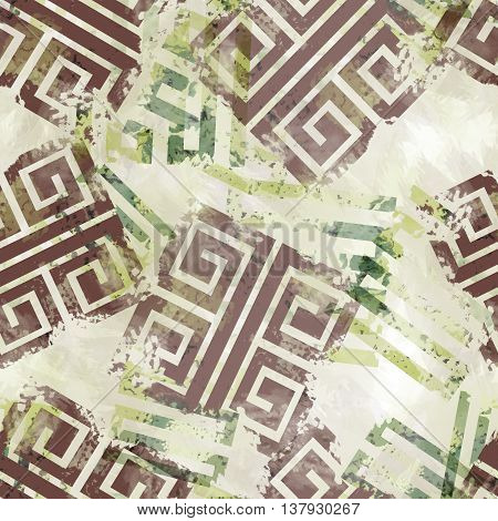 Seamless pattern with meander design. Greek background with watercolor effect. Textile greece print.