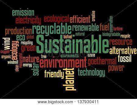 Sustainable, Word Cloud Concept