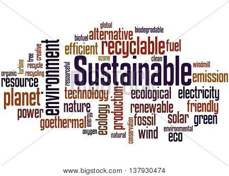 Sustainable, Word Cloud Concept 3