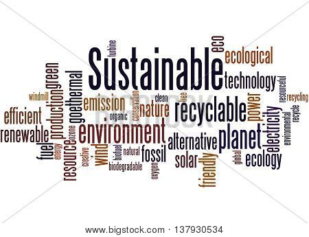 Sustainable, Word Cloud Concept 7