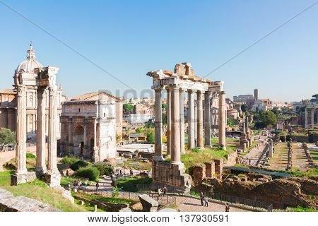 Forum - Roman famous ruins in Rome at sunny day, Italy