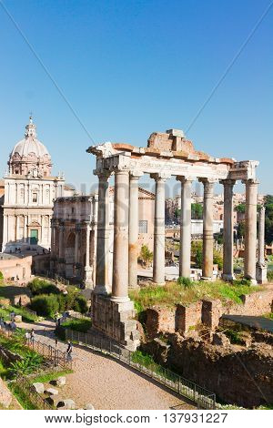 Forum - Roman famous ruins in Rome at sunny day, Italy, vertival shot