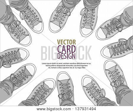 Legs with jeans in any color gumshoes. Youth fashion. Teamwork and friendship concept. Vector illustration. EPS