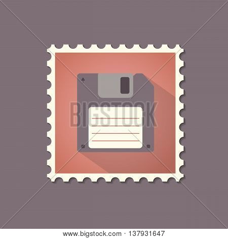Retro style floppy disk flat stamp with shadow. Vector illustration.