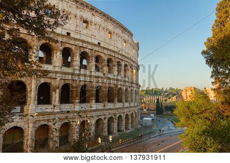 close up view of Colosseum building in Rome, Italy