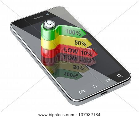 Touch phone with battery level charge on the screen. 3d image isolated on a white background.