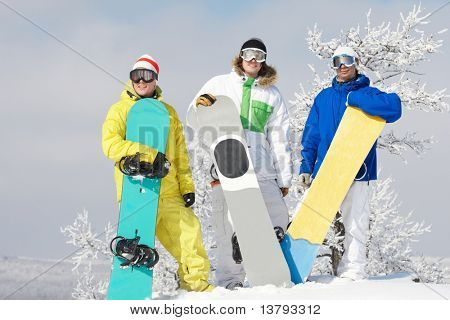 Portrait of handsome three snowboarders in googles standing on the hill