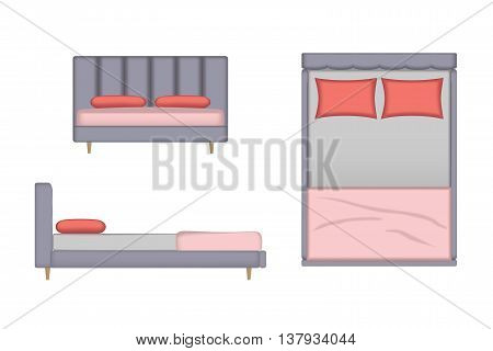 3D Realistic Bed Illustration. Top, Front, Side View for Your Interior Design. Scene Creator