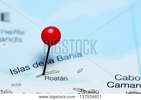 Roatan pinned on a map of Honduras