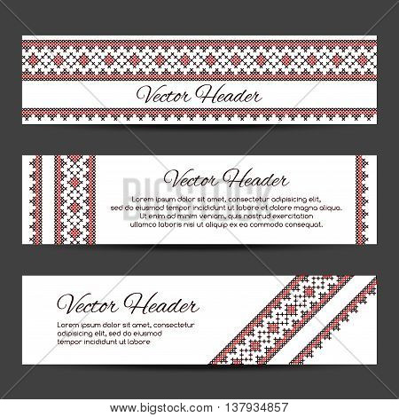 Header, banner design vector template with cross stitch ornament