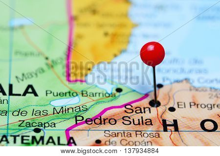 San Pedro Sula pinned on a map of Honduras