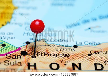 El Progreso pinned on a map of Honduras