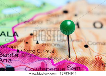 Marcala pinned on a map of Honduras