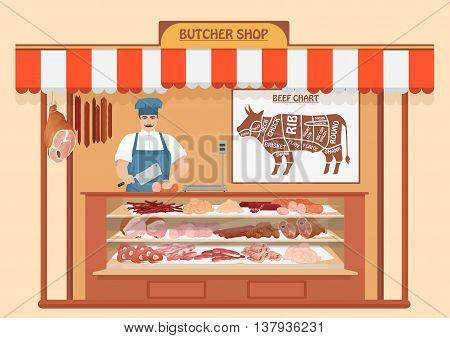 Butcher Shop. Meat Seller. Store shelves with pork meat, veal and ham, salami slices, sausage, bacon and beef. Fresh steak