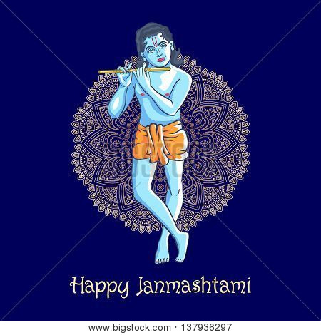 Lord Krishna Plays His Flute Against The Background Of The Mandala Blue Backgroun Vector