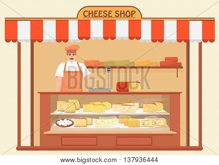 Butcher Shop. Meat Seller. Store shelves with different kind of Cheese set. Parmesan mozarella swiss emmentaler cheddar gouda icons collection