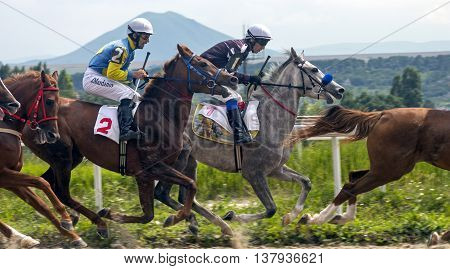 PYATIGORSK, RUSSIA - JULY 10:Horse race for the traditional prize Oaks in Pyatigorsk,the largest in Russia in Pyatigorsk,Caucasus,Russia on July 10,2016.