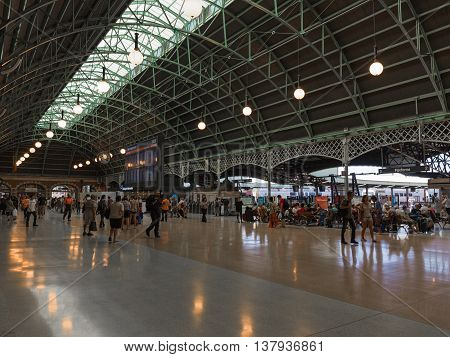 Sydney - February 25 2016: Scoreboard Central Station in Sydney and a lot of people and tourists traveling to Australia February 25 2016 Sydney Australia