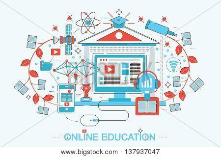 Modern Flat Line design online education and e-learning concept for web banner website, presentation, flyer and poster