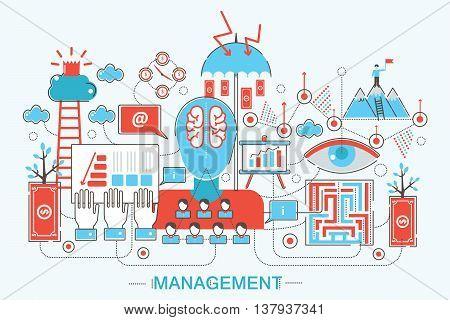 Modern Flat thin Line design global managment concept for web banner website, presentation, flyer and poster.