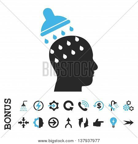 Brain Washing vector bicolor icon. Image style is a flat iconic symbol, blue and gray colors, white background.