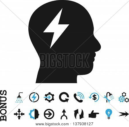 Brainstorming vector bicolor icon. Image style is a flat iconic symbol, blue and gray colors, white background.