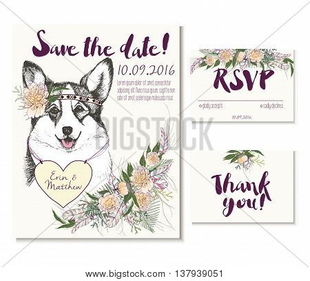 Vedding card set in trendy boho style. Welsh corgi wearing the flower crown and heart coulomb. Decorated with floral bouquet and feathers. Includes save the date rsvp and thank you cards templates.