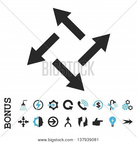 Centrifugal Arrows vector bicolor icon. Image style is a flat iconic symbol, blue and gray colors, white background.