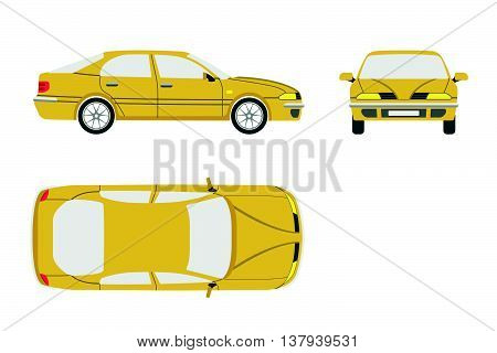 Yellow car on a white background . Three views : front side top. Vector illustration
