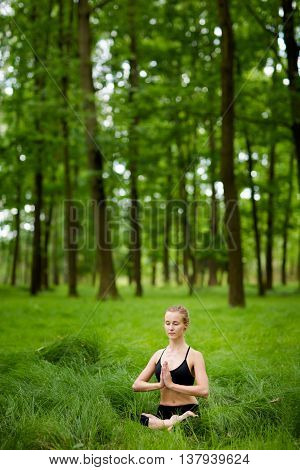 Medetation Yoga Session In Woods
