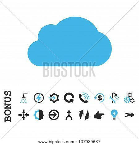 Cloud vector bicolor icon. Image style is a flat iconic symbol, blue and gray colors, white background.