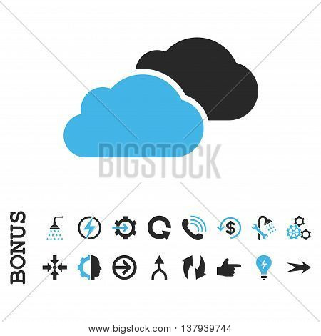 Clouds vector bicolor icon. Image style is a flat pictogram symbol, blue and gray colors, white background.