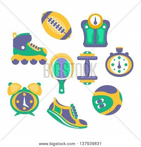 Sports And Fitness Equipment Objects Set Of Simplified Flat Cartoon Style Vector Stickers Isolated On White Background