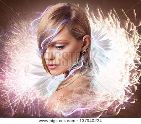 Beautiful fantasy woman with flowers, smoke and lights. Colorful digital artwork